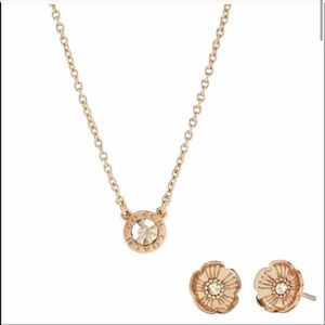 NEW Coach Open Circle Necklace And Tea Rose Stud Earrings Set